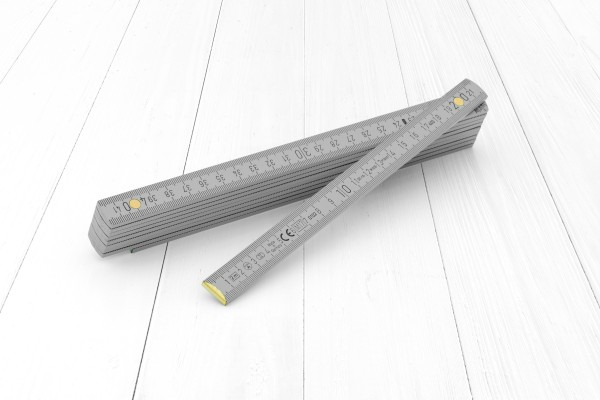 Zollstock 2m Holz grau